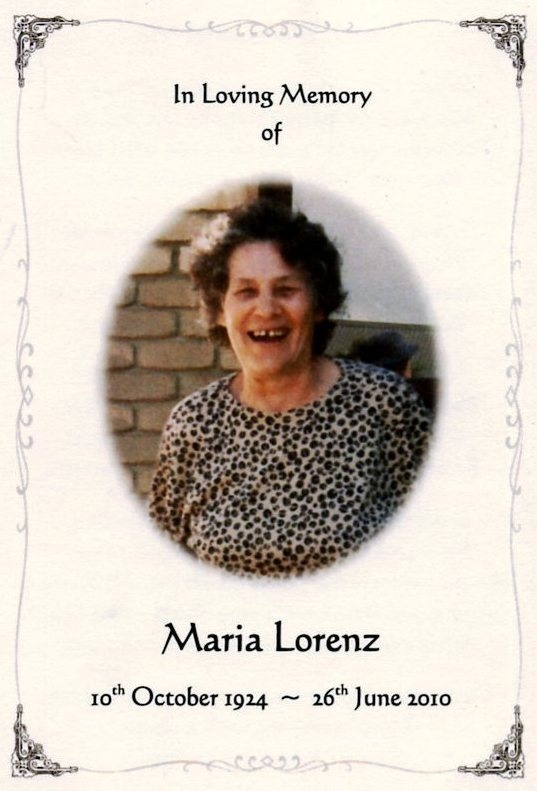 Tribute to Maria Lorenz and other family members and their war efforts